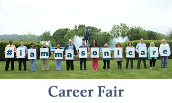 masonicare career fair. People holding up letters that spell #masonicare