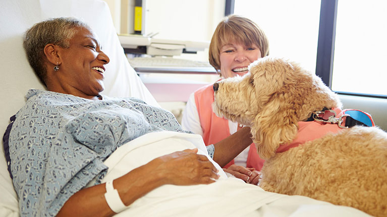 Patient laying in her bed with her friend, bedside with her dog. The women laying in bed is elevated as she pets the dog, smiling.