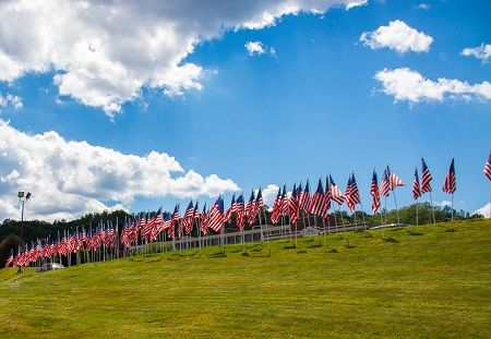 American Flags on a hill at Masonicare