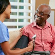Senior male using 24 hour nursing services