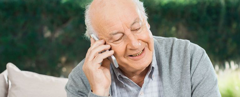 Senior male talking on cell phone
