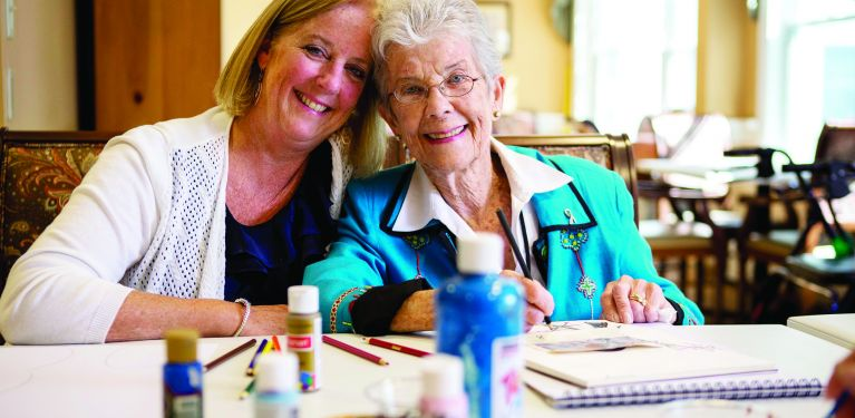 Senior woman spending time at one of Masonicare's clubs