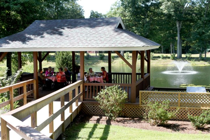 Gather in our gazebo by the lake