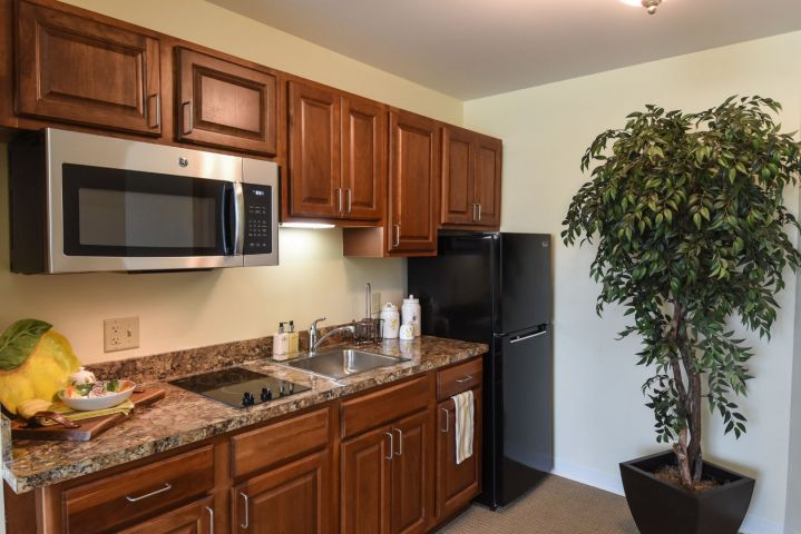 Sea Level studio kitchen area - our lowest priced efficiency apartments